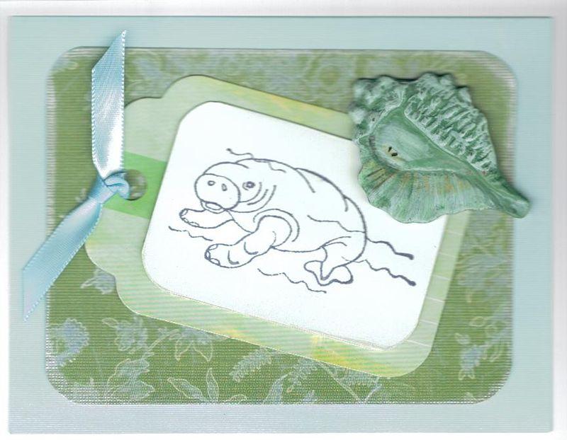 Monotone manatee card